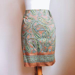 Valerie Stevens Paisley Border Pencil Skirt